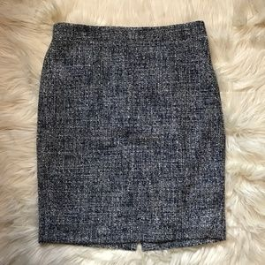 J. Crew Factory Blue White Marl Tweed Pencil Skirt